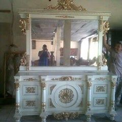 bufet nusantara jati+kaca cermin mewah pengrajin, pengusaha jati mebel furniture jepara