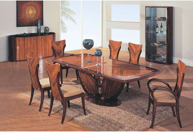 Elegant Wooden Fabric Seats Modern Furniture Table Set contemporary-dining-tables