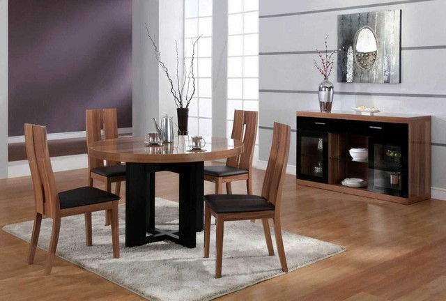 Luxurious Round Wood and Clear Italian Dining Room Furniture modern-dining-tables