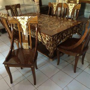 kursi makan ukir batik jati jepara mewah